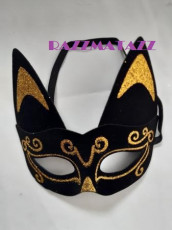 Cat Mask with Gold Glitter