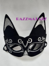 Cat Mask with Silver Glitter