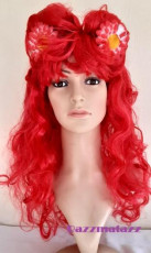 Red Curly Long Wig with Flowers