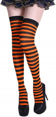 Orange and Black Striped Knee High Stockings
